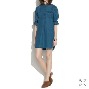 Madewell indigo linen tunic dress in ultramarine